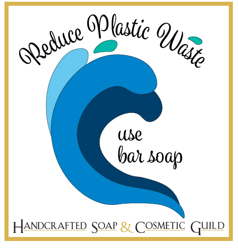 HSCG Reduce Plastic Waste logo. Multi-tone blue wave with Reduce Plastic Waste and Use Bar Soap.